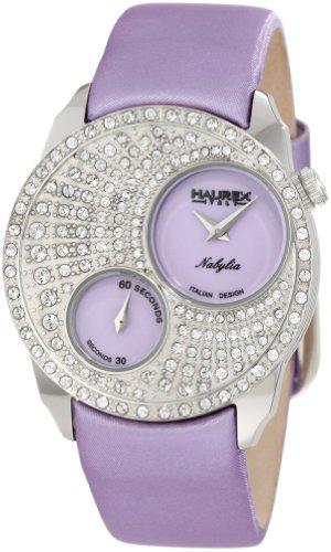 Haurex Italy Nabylia Lilac Dial Watch #FS359DL1 - Reloj de mujer de cuarzo, correa de piel color morado