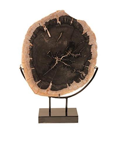 Asian Loft Petrified Wood Slice on Stand, Grey/Black/White