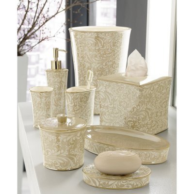 Kassatex Trump Bedminister Scroll Bath Decorative Accessories, Cotton Jar, Crème Brulèe