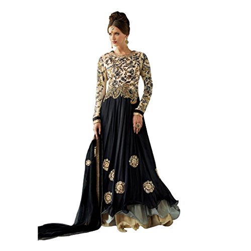 Kumud Kala Women Georgette Salwar Suit Set (Kkdk1001 _Black _Free Size)