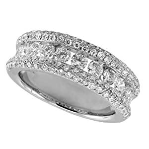 14k 1.64 Dwt Diamond White Gold M. Pave Band Ring - JewelryWeb
