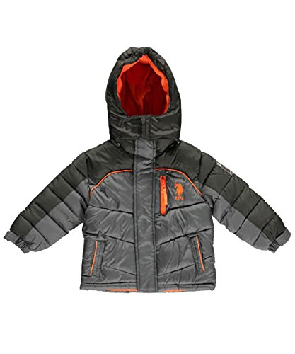 Us Polo Association Baby-Boys Infant Poly-Fill Two Toned Bubble Jacket With Removable Hood, Charcoal/Black, 24 Months front-1045723