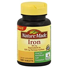 Nature Made Iron, 65 mg, Tablets, Value Size, 180 ct.