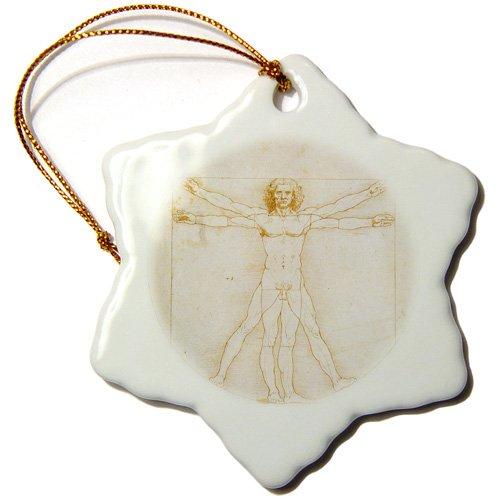 3Drose Orn_126667_1 Human Figure In A Circle By Leonardo Da Vinci 1485-90 Snowflake Ornament Porcelain, 3-Inch front-235210