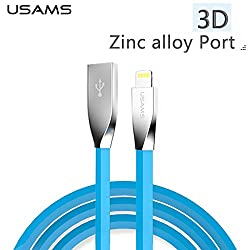 BlueInk USAMS U-Strength Series 8 Pin Lightning Cable 1.2m Stereo Diamond Flat Wire 3D Zinc Alloy 2A Fast Charging for Apple iPhone 5/iPhone 6/6S/6Plus/ Apple iPad Air/Air 2/iPad Mini/5SE (White)