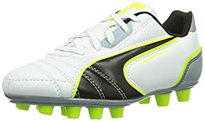 Puma Universal Fg Jr, Chaussures de football mixte enfant - Jaune (White-Black-Fluro Yellow-Tradewinds 10), 32 EU