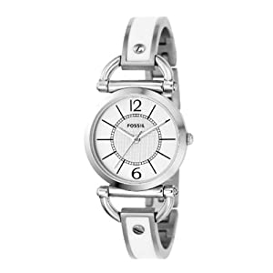 jam tangan Fossil Women's ES2473 Ultra-Slim White Stainless Steel Bracelet White Analog Dial Watch