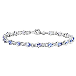 Sterling Silver Tanzanite and Diamond Bracelet, 7 inches, Exquisite Bracelets For Women, Fine Jewelry