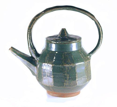 32 oz. Green Stoneware Teapot, Handmade Wheel Thrown Pottery, 4 cup (1 quart) Capacity (Teapot 32 Oz compare prices)