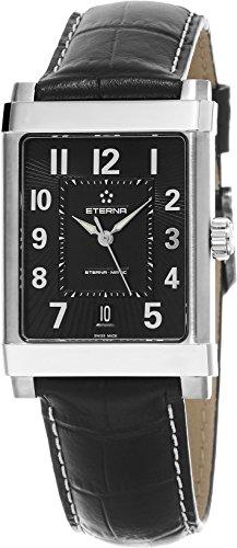 Eterna-1935eterna-matic grande hombre Negro Correa de cuero reloj automático Swiss 8492.41.44.1261
