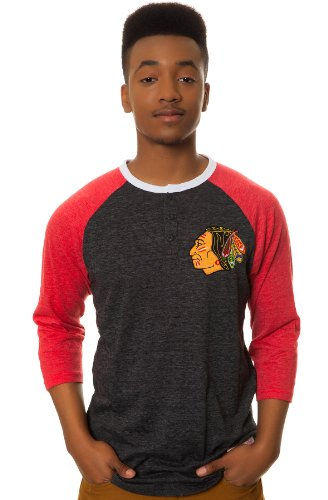 Mitchell & Ness Men's Chicago Blackhawks Henley Large Black at Amazon.com