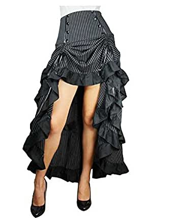 Three Tiered Tail Skirt Black Pinstirpe Gothic Victorian Renaissance