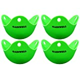 GAINWELL Silicone Egg Poacher - Set of 4pcs - Cooking Perfect Poached Eggs - Green Extra Thick Egg Poacher Molds