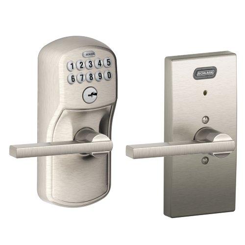 Schlage Fe576 Ply 619 Lat Cen Built-In Alarm, Century Collection Keypad Latitude Lever Door Lock, Satin Nickel