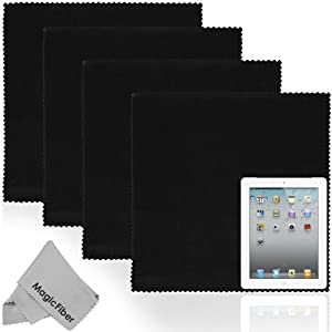 (5 Piece Set) 4 Extra Large MagicFiber Ultra Fine Microfiber Cleaning Cloths (Black) + 1 Microfiber Lens Cleaning Cloth (Grey) - Perfect for Tablets , HDTV LCD Screens, Chrome Surfaces, DSLR Camera Lenses, Cell Phones (Safe for all surfaces