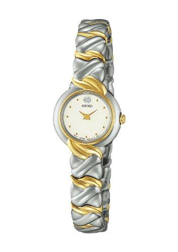 Seiko Ladies Two Tone Diamond White Dial Quartz Dress Watch SXJZ38