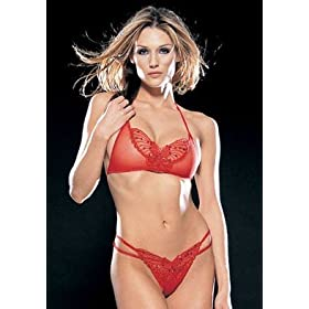 Sheer Sequined Butterfly Applique Bra and Strappy Thong Set