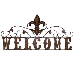 com - LL Home Metal Welcome Sign with Fleur De Lis - Decorative Signs