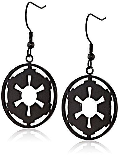 Star Wars Jewelry Imperial Symbol Stainless Steel Black IP Dangle Drop Earrings