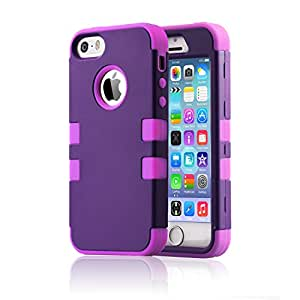 iPhone 5 Case,iPhone 5S Case, BENTOBEN 3 in 1 Hard Plastic Shell Silicone Hybrid iPhone 5 Cases Shock Proof Drop Resistance Anti-slip Cover for iPhone 5 5S, Purple+Purple