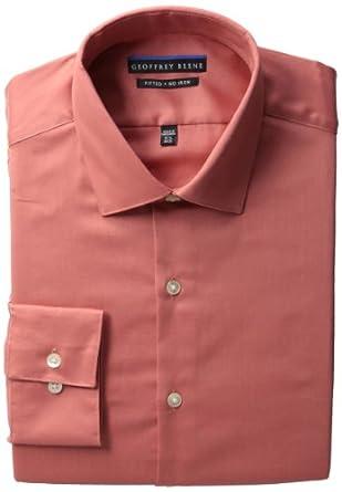 Geoffrey Beene Men's Long Sleeve Fitted Wrinkle Free Sateen, Dusty Orange, 16/34-35