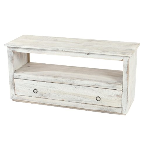 TV-Rack-Fernsehtisch-Lowboard-TV-Regal-Shabby-Look-Vintage-wei