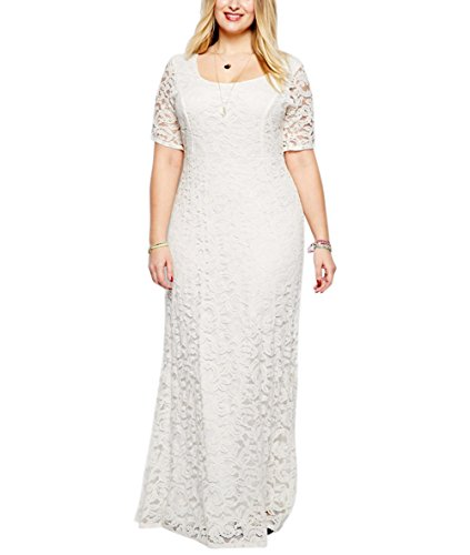 Nemidor Women's Full Lace Plus Size Wedding Maxi Dress White(5