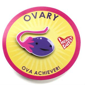 Ovary Lapel Pin Ova Achiever I Heart Guts - 1