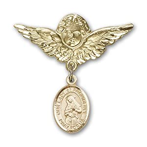 14K Gold Baby Badge with Our Lady of Providence Charm and Angel with Wings Badge Pin
