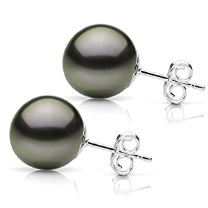 14k White Gold 10-11mm Black Genuine South Sea Tahitian Pearl High Luster Stud Earrings.