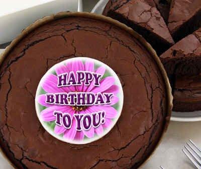 Birthday Brownie Cake - Pink Daisy