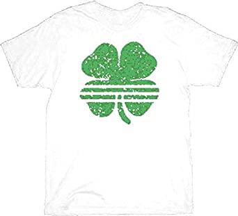 St. Patrick's Day Striped Shamrock Clover Vintage White Adult T-shirt Tee