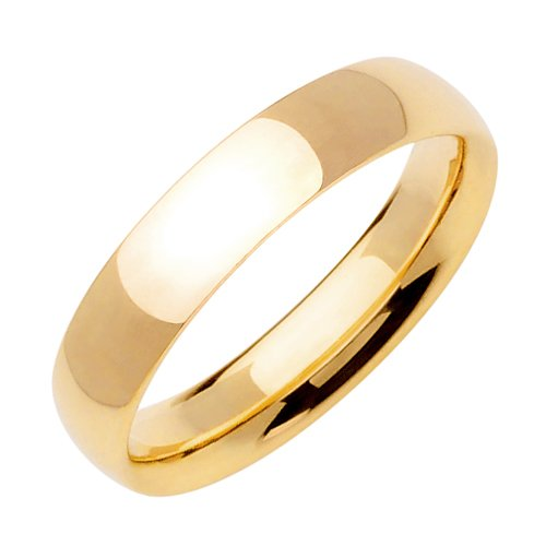 Medium-Weight Plain Dome Wedding Band in 14k Yellow Gold (5mm)