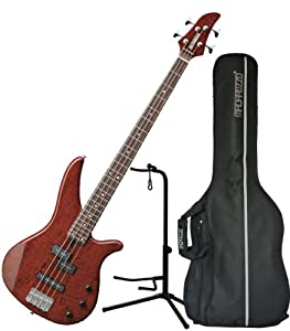yamaha rbx170ewrtb 4 string electric bass guitar flame mango top root beer w gig bag. Black Bedroom Furniture Sets. Home Design Ideas