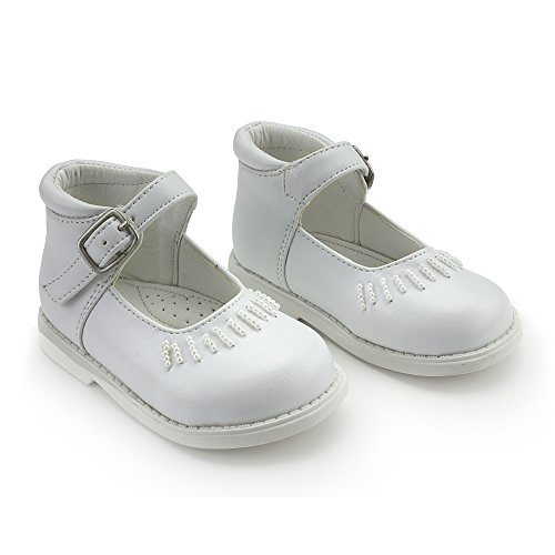 Annabelle Leather and Bead White Mary Jane Shoes for Infants