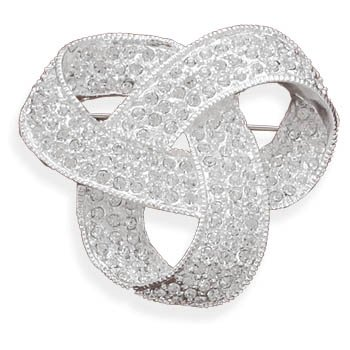 Love Knot Pin Brooch Swarovski Crystal Plated
