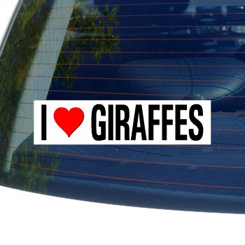 I Love Heart GIRAFFES - Window or Bumper Sticker