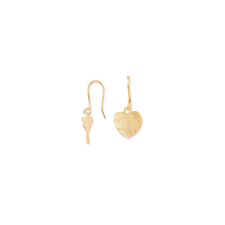 14k Gold Curved Mesh Heart Drop Dangle Earrings, Italian Designer made Small to Medium (S/M) Size   $99.99 Valentines Day SALE SPECIAL