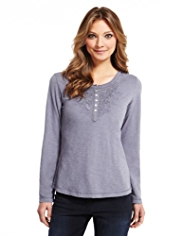 Indigo Collection Pure Cotton Henley Neck Lace Bib Top