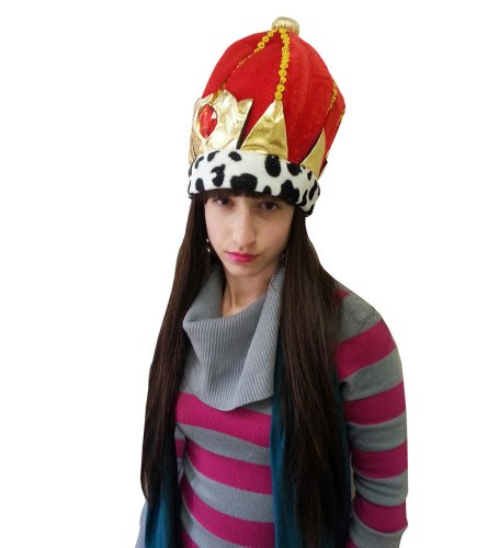 Deluxe Royal Crown - Plush Red Royal Crown Hat With Red Stone Fit For A King