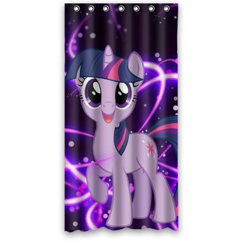 Custom Unique Design Cartoon My Little Pony Rainbow Waterproof Fabric Shower Curtain, 72 By 36-Inch front-334229