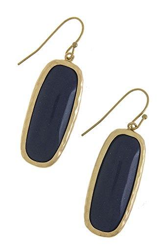 Karmas Canvas Rectangle Semi Precious Stone Earrings (Navy) front-1012534
