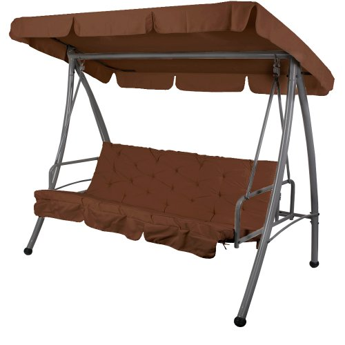 Jago HWSKL02brown Garden Patio Swinging Hammock Bench Swing Seat Brown 2 in 1