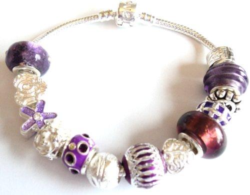Purple Rain Pandora/Troll Style Charm Bracelet-