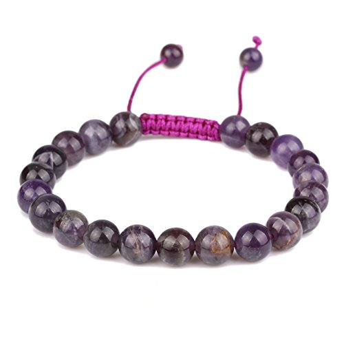 banshren® 8mm Healing Stone Handmade Adjustable Round Amethyst Reiki Bead Beaded Bracelet Review