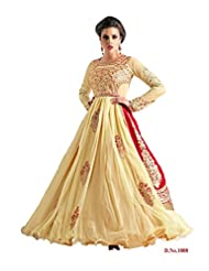 Fabboom New Cream And Red Long Anarkali Suit