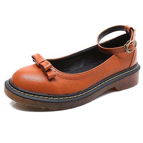 Smilun-Chaussures-Femme-Bride-Cheville-avec-Nud--Deux-Boucles-Bout-Rond
