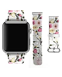 Apple Watch Band, Premium Leather Strap Wrist Band Replacement for Apple Watch 38mm Models Romantic Pink and Red Roses