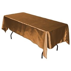 LinenTablecloth 60 x 102-Inch Rectangular Satin Tablecloth Copper from LinenTablecloth