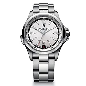 Victorinox Mens 241571 Night Vision Analog Display Swiss Quartz Silver Watch by Victorinox